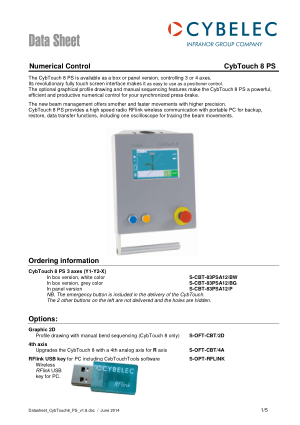Cybelec Data Sheet CybTouch 8 PS Numerical Control