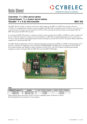 Cybelec Data Sheet MSV 402 Converter V A for servo-valves
