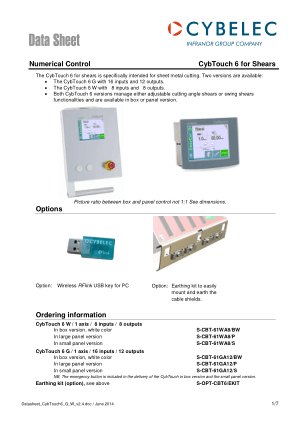 Cybelec Data Sheet CybTouch 6 for Shears Numerical Control