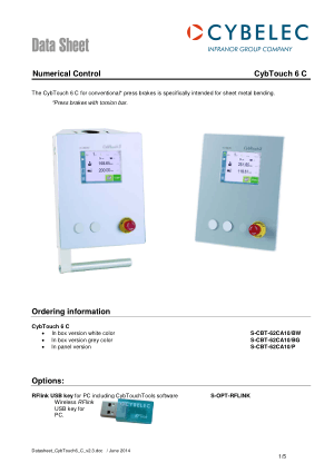 Cybelec Data Sheet CybTouch 6 C Numerical Control