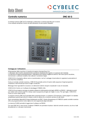 Cybelec Data Sheet Controllo numerico DNC 60 G