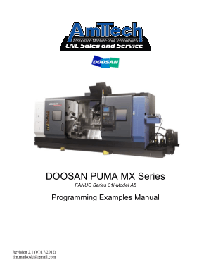 DOOSAN PUMA MX Series FANUC 31i-Model A5 Programming Examples Manual