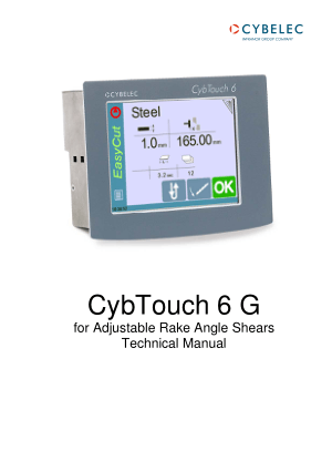 Cybelec CybTouch 6 G for Adjustable Rake Angle Shears Technical Manual