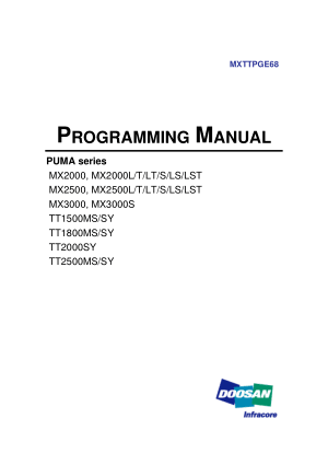 DOOSAN CNC Turning Center Programming Manual