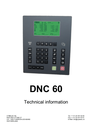 Cybelec DNC 60 Technical information