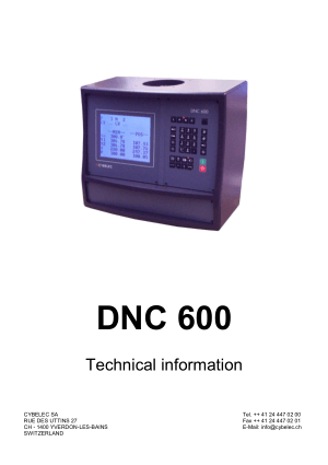 Cybelec DNC 600 Technical information
