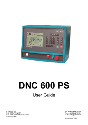 Cybelec DNC 600 PS User Guide