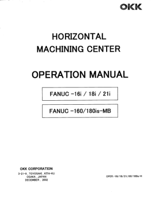 OKK Horizontal Machining Center Operation Manual Fanuc-16i18i21i