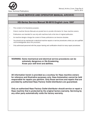 Haas HS-Series Service Manual 96-9010 English June 1997