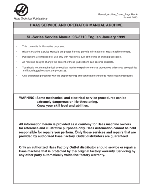 Haas SL-Series Service Manual 96-8710 English January 1999