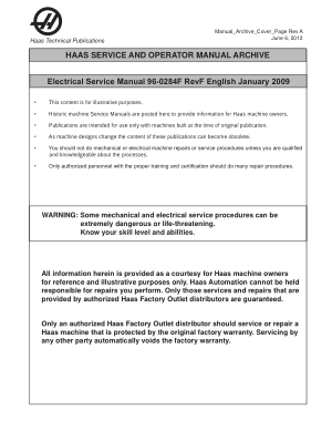 Haas Electrical Service Manual 96-0284F Rev F English January 2009
