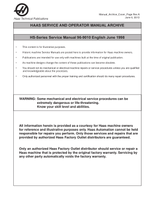 Haas HS-Series Service Manual 96-9010 English June 1998