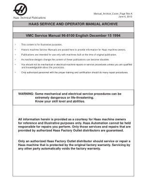 Haas VMC Service Manual 96-8100 English December 15 1994