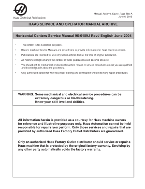 Haas Horizontal Centers Service Manual 96-0189J Rev J English June 2004