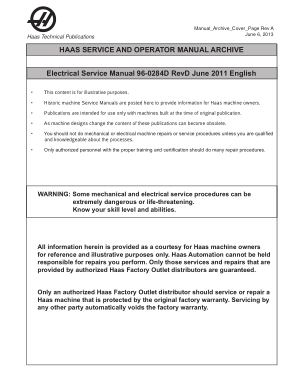 Haas Electrical Service Manual 96-0284D Rev D June 2011 English