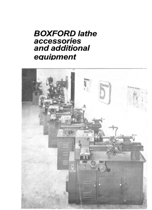 BOXFORD 1976 Lathe Accessories & Additional Equipment List