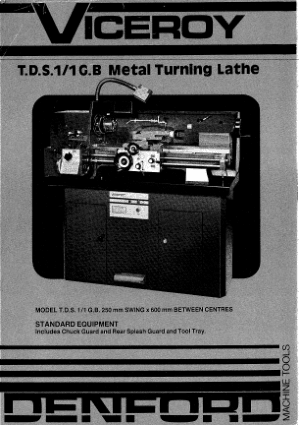 Viceroy TDS1 Metal Turning Lathe Manual