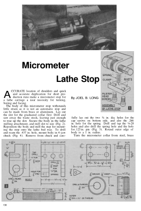 Myford Micrometer Lathe Stop