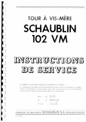 Schaublin 102 VM Instructions De Service