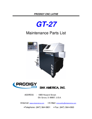 PRODIGY GT-27 Maintenance Parts List