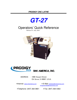 PRODIGY GT-27 Operators Quick Reference