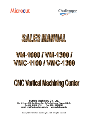 Microcut Challenger Sales Manual CNC Vertical Machining Center