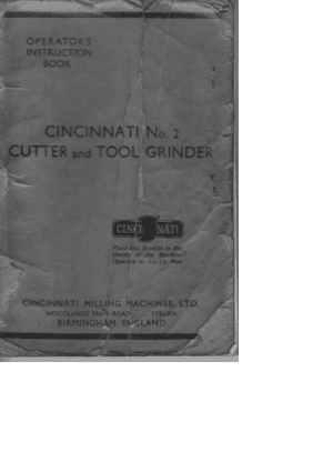 Cincinnati No 2 Cutter and Tool Grinder Operators Manual