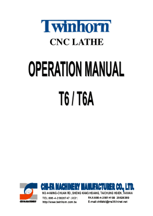 Twinhorn CNC Lathe T6 T6A Operation Manual