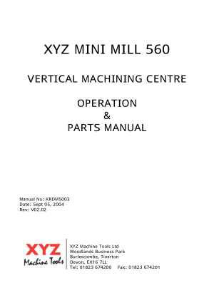 King Rich KR-MF560 Operation Manual XYZ Mini Mill 560