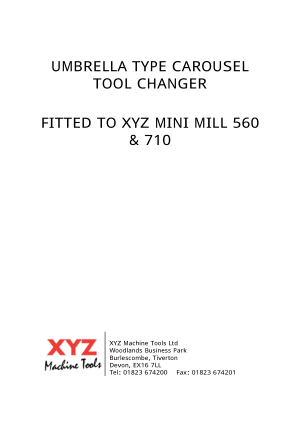 XYZ Mini MIll 560 710 Umbrella Type Carousel Tool Changer Manual