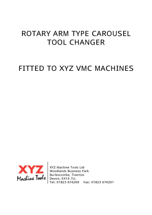 XYZ VMC Rotary Arm Type Carousel Tool Changer Manual