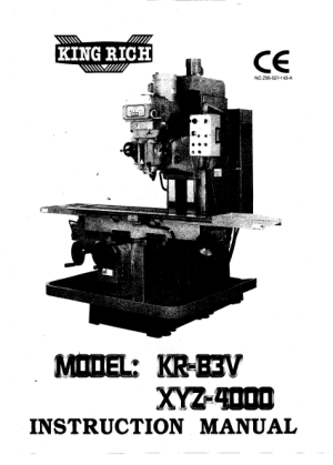 King Rich KR-B3V XYZ-4000 Parts Manual