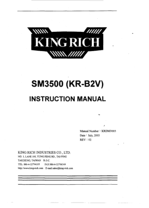 King Rich SM3500 KR-B2V Parts Manual
