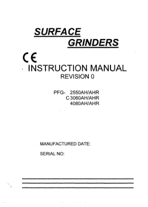 XYZ 1632 Surface Grinder Manual