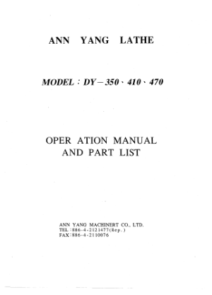 Ann Yang PRO 350 and 410 Operation Manual Parts List