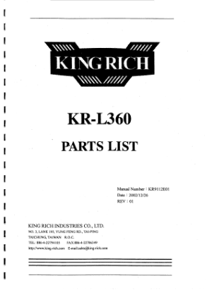King Rich KR PRO VL355 L360 Parts List
