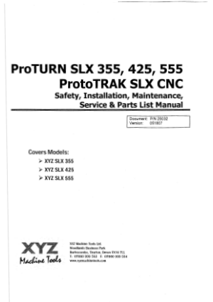 ProTURN SLX 355 425 555 ProtoTRAK SLX Installation Parts Manual