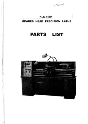 XYZ E Turn 1430 Lathe KLS-1430 Parts List