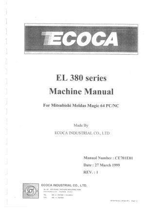 XYZ PRO 360 Ecoca EL 380 Machine Manual