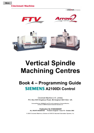 Cincinnati Vertical Spindle Machining Centres Programming Guide Siemens A2100Di Control