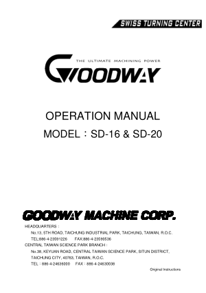 Goodway SD-16 & SD-20 Swiss Turning Center Operation Manual