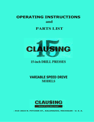 CLAUSING 15 inch Drill Press Operating Manual Parts List pdf - CNC