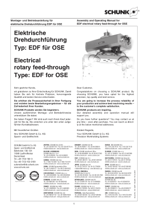 SCHUNK Electrical Rotary Feed-through Type EDF for OSE