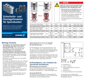SCHUNK Safety- and Assembly Information for Chuck Jaws