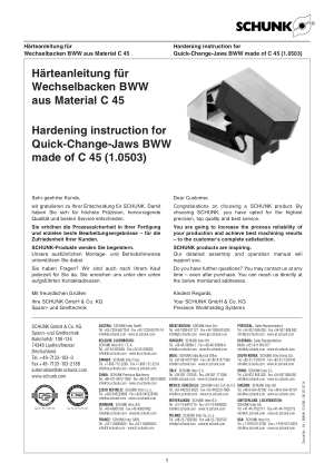 SCHUNK Hardening instruction for Quick-Change-Jaws BWW made of C 45 (1.0503)