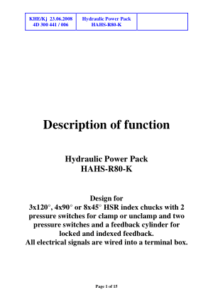 Forkardt HAHS-R80-K Hydraulic Power Pack Operating Instructions Manual