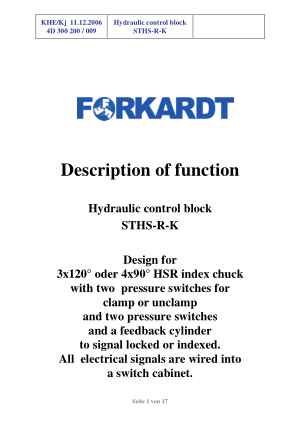 Forkardt STHS-R-K Hydraulic Control block Operating Manual
