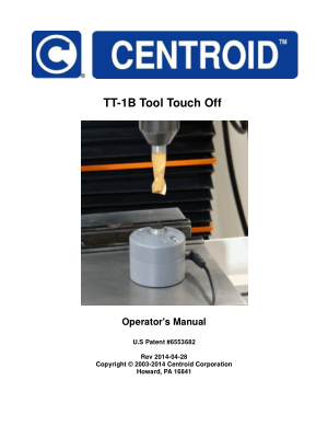 Centroid TT-1B Tool Touch Off Operator's Manual