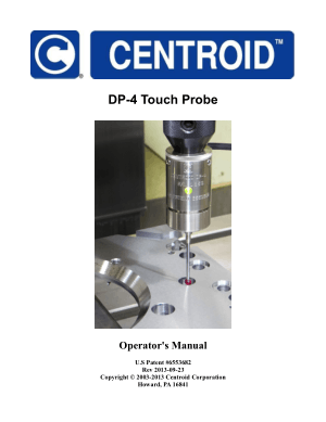 Centroid DP-4 Touch Probe Operator's Manual