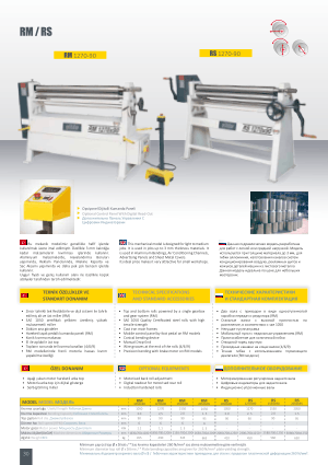 Sahinler Metal RM RS Technical Specifications